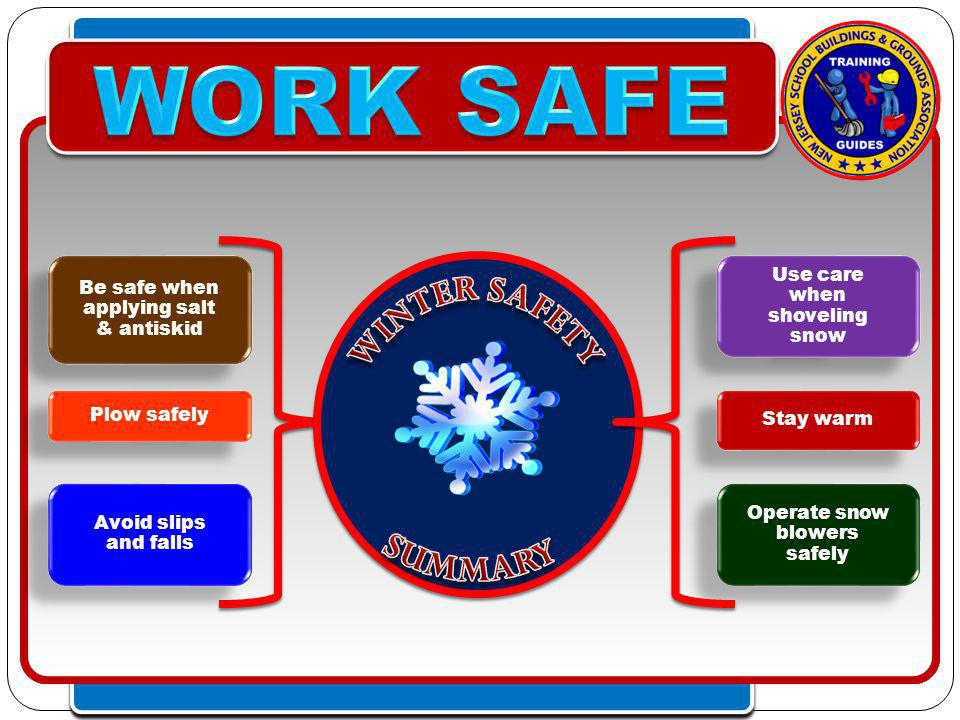 Click to edit Master text styles – Second level Third level – Fourth level » Fifth level Click to edit Master text styles – Second level Third level – Fourth level » Fifth level Stay warm Avoid slips and falls Use care when shoveling snow Operate snow blowers safely Plow safely Be safe when applying salt & antiskid