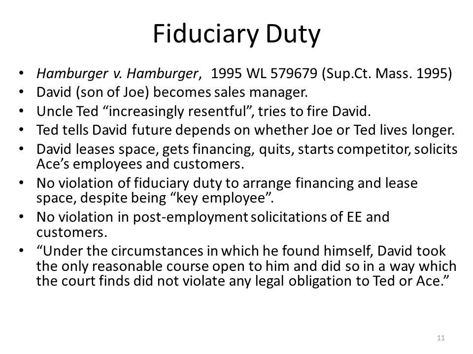 Fiduciary Duty Hamburger v.Hamburger, 1995 WL 579679 (Sup.Ct.