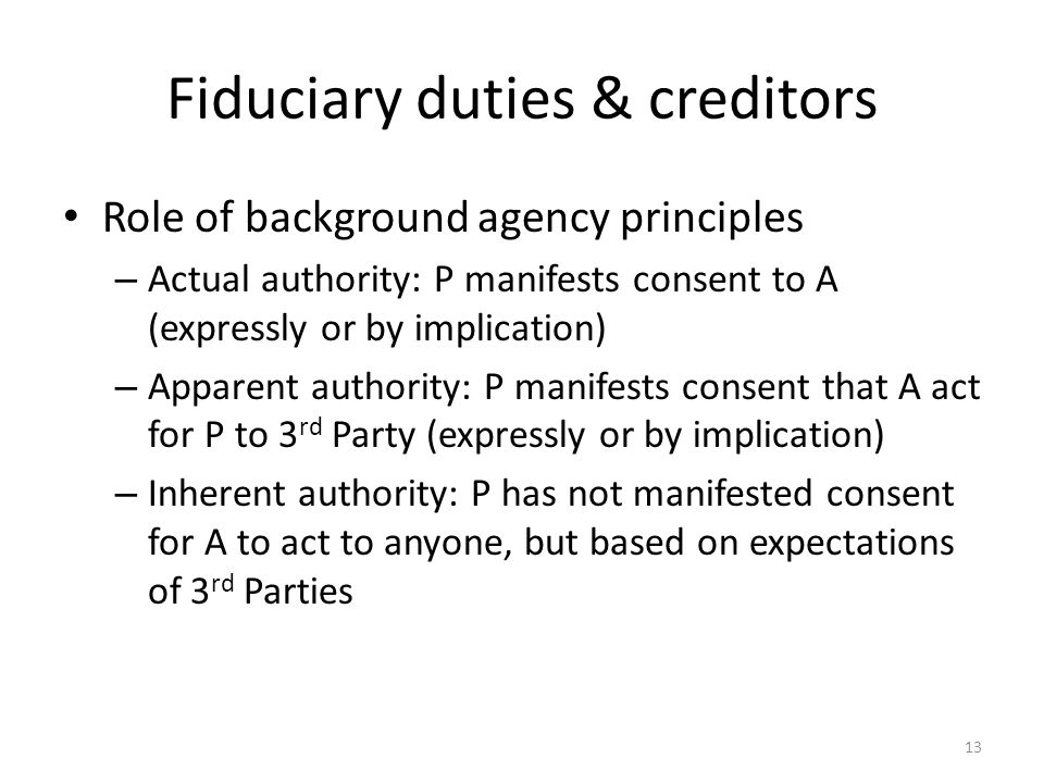 Fiduciary duties & creditors Role of background agency principles – Actual authority: P manifests consent to A (expressly or by implication) – Apparen