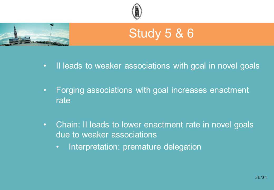 36/34 Study 5 & 6 II leads to weaker associations with goal in novel goals Forging associations with goal increases enactment rate Chain: II leads to lower enactment rate in novel goals due to weaker associations Interpretation: premature delegation