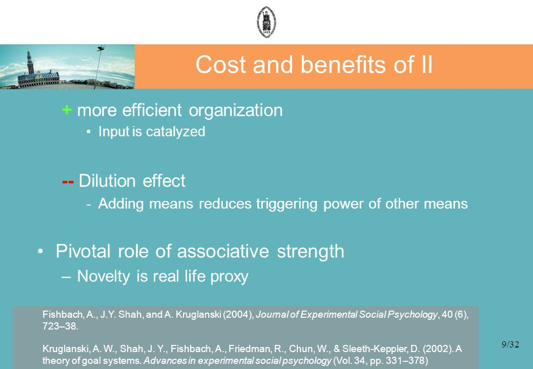 9/32 Cost and benefits of II + more efficient organization Input is catalyzed -- Dilution effect -Adding means reduces triggering power of other means Pivotal role of associative strength –Novelty is real life proxy Fishbach, A., J.Y.