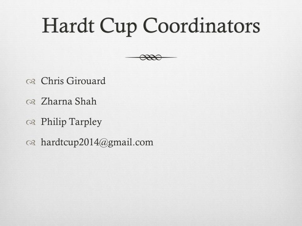 Hardt Cup CoordinatorsHardt Cup Coordinators Chris Girouard Zharna Shah Philip Tarpley hardtcup2014@gmail.com