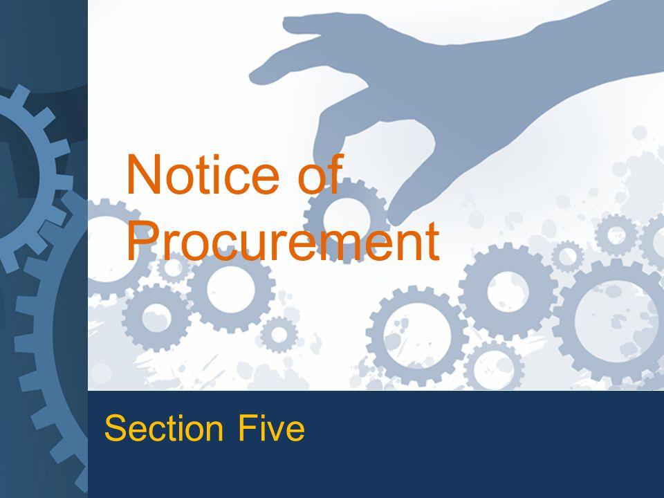 Section Five Notice of Procurement