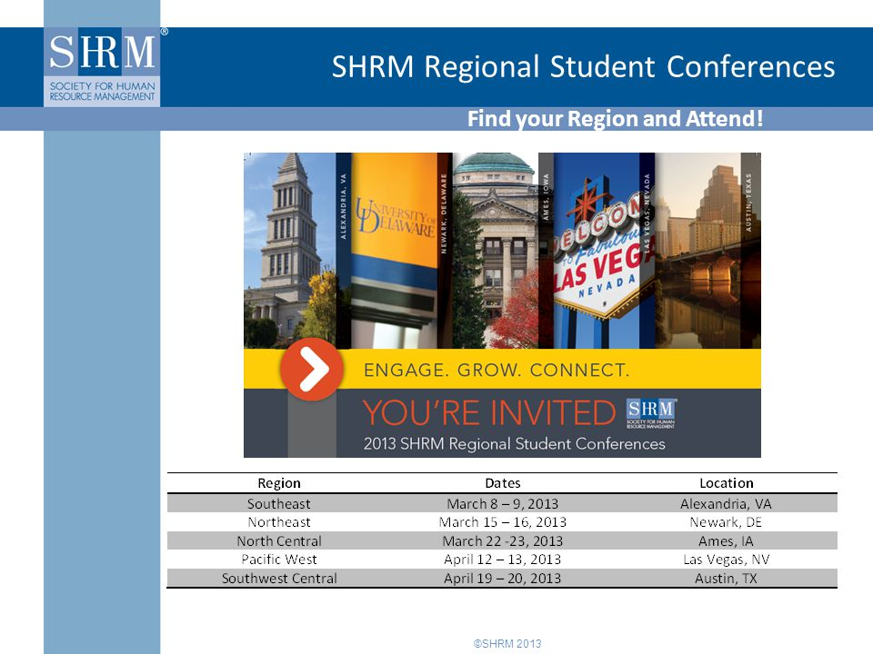 ©SHRM 2013 SHRM Regional Student Conferences Find your Region and Attend!