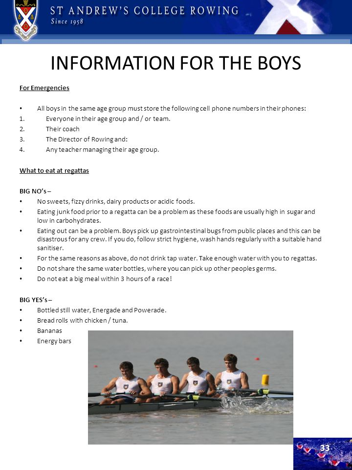 INFORMATION FOR THE BOYS For Emergencies All boys in the same age group must store the following cell phone numbers in their phones: 1.Everyone in the