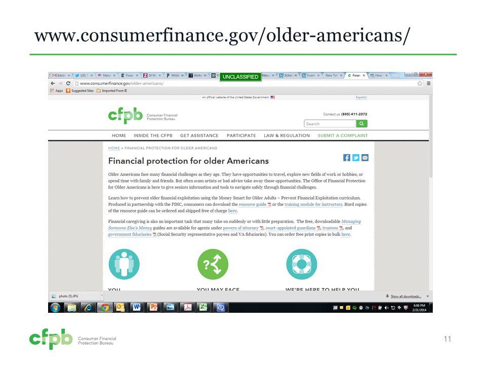 www.consumerfinance.gov/older-americans/ 11