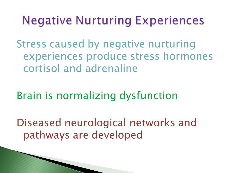 Stress caused by negative nurturing experiences produce stress hormones cortisol and adrenaline Brain is normalizing dysfunction Diseased neurological networks and pathways are developed