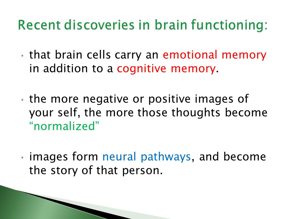that brain cells carry an emotional memory in addition to a cognitive memory.