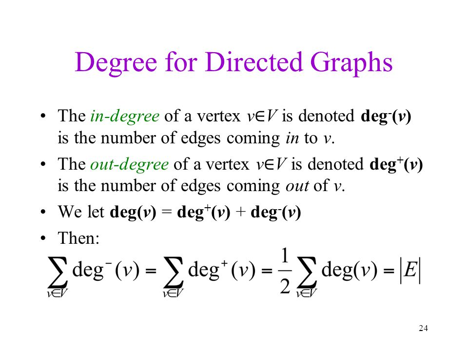 Degree for Directed Graphs The in-degree of a vertex v V is denoted deg - (v) is the number of edges coming in to v. The out-degree of a vertex v V is