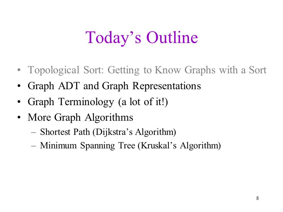 Graph ADT Graphs are a formalism useful for representing relationships between things –a graph G is represented as G = (V, E) V is a set of vertices: {v 1, v 2, …, v n } E is a set of edges: {e 1, e 2, …, e m } where each e i connects two vertices (v i1, v i2 ) –operations might include: creation (with a certain number of vertices) inserting/removing edges iterating over vertices adjacent to a specific vertex asking whether an edge exists connecting two vertices Han Leia Luke V = {Han, Leia, Luke} E = {(Luke, Leia), (Han, Leia), (Leia, Han)} 9