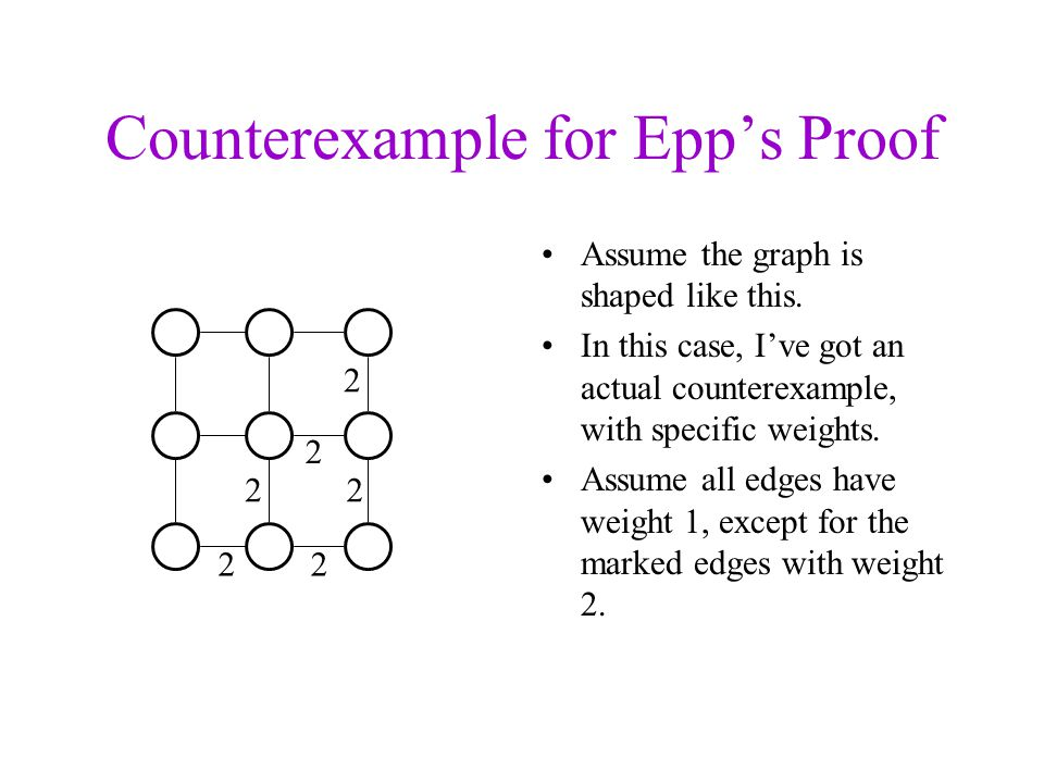 Counterexample for Epps Proof Assume the graph is shaped like this. In this case, Ive got an actual counterexample, with specific weights. Assume all