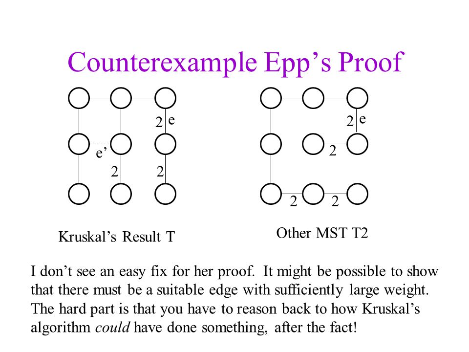 Counterexample Epps Proof Kruskals Result T Other MST T2 I dont see an easy fix for her proof. It might be possible to show that there must be a suita