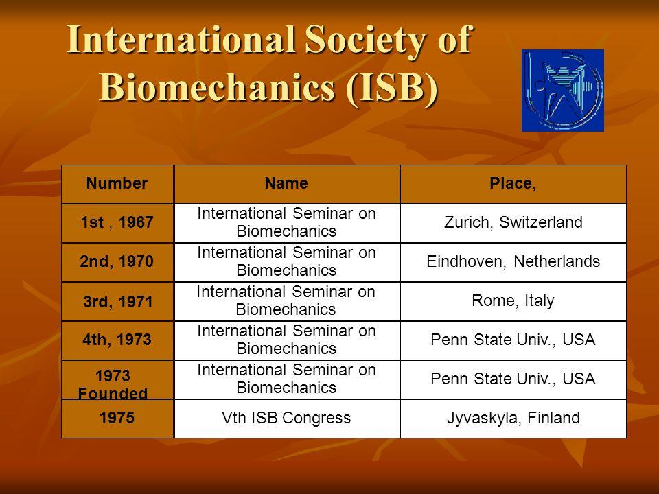 International Society of Biomechanics (ISB) NumberNamePlace, 1st, 1967 International Seminar on Biomechanics Zurich, Switzerland 2nd, 1970 Internation