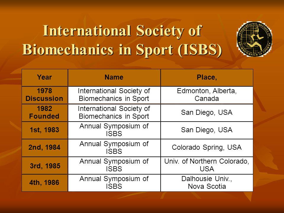 International Society of Biomechanics in Sport (ISBS) YearNamePlace, 1978 Discussion International Society of Biomechanics in Sport Edmonton, Alberta,
