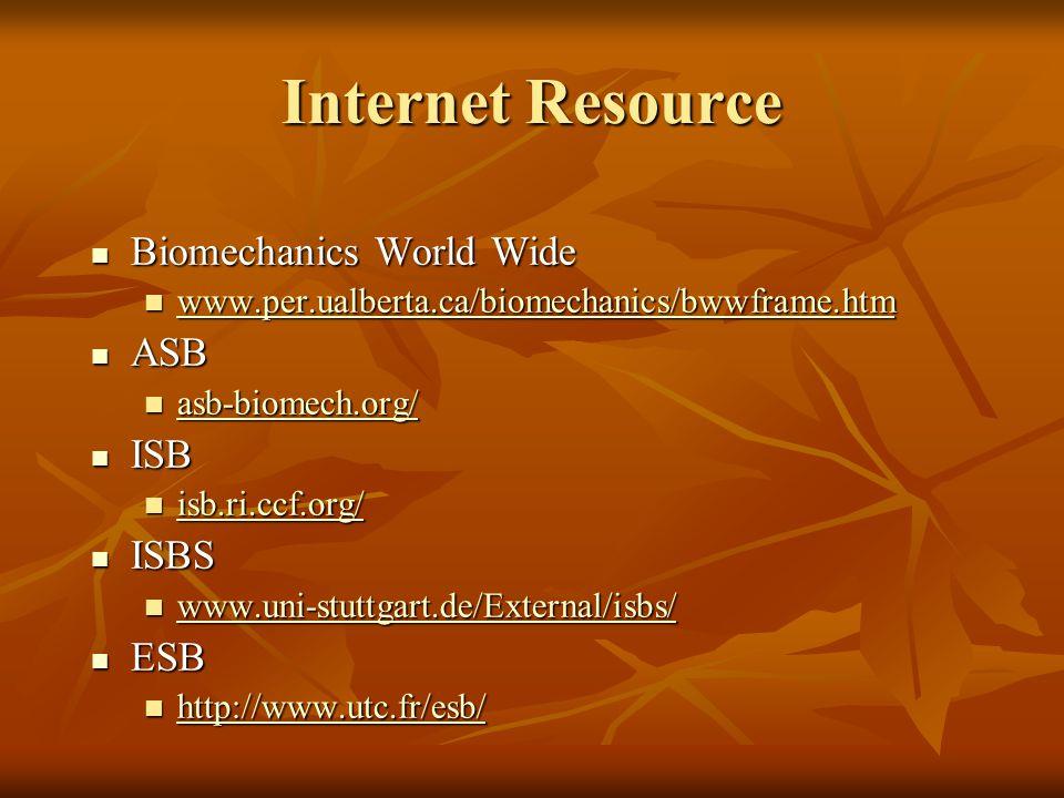 Internet Resource Biomechanics World Wide Biomechanics World Wide www.per.ualberta.ca/biomechanics/bwwframe.htm www.per.ualberta.ca/biomechanics/bwwfr