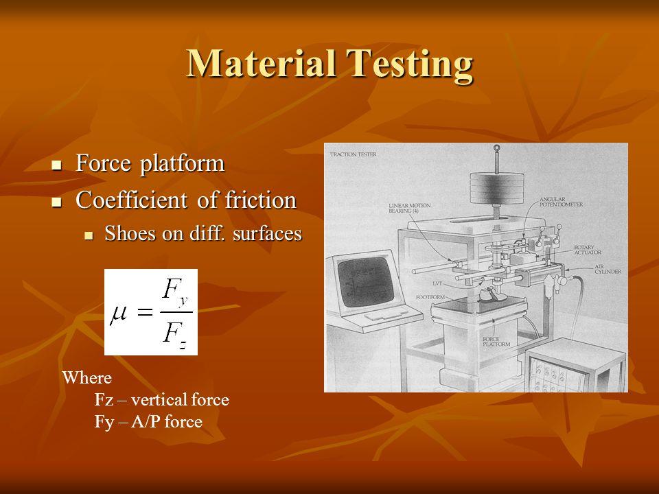 Material Testing Force platform Force platform Coefficient of friction Coefficient of friction Shoes on diff. surfaces Shoes on diff. surfaces Where F