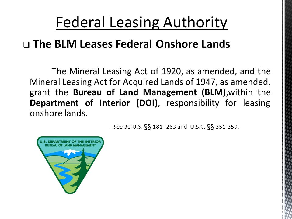 Bonding Bond of $10,000.00 to BLM prior to surface disturbance Rentals Rental Rate: $1.50 per acre Payment of first year filed with offer Subsequent payments are due annually on lease date Royalties Minimum of 12.5% for competitive and noncompetitive leases Federal Leasing: Terms and Conditions