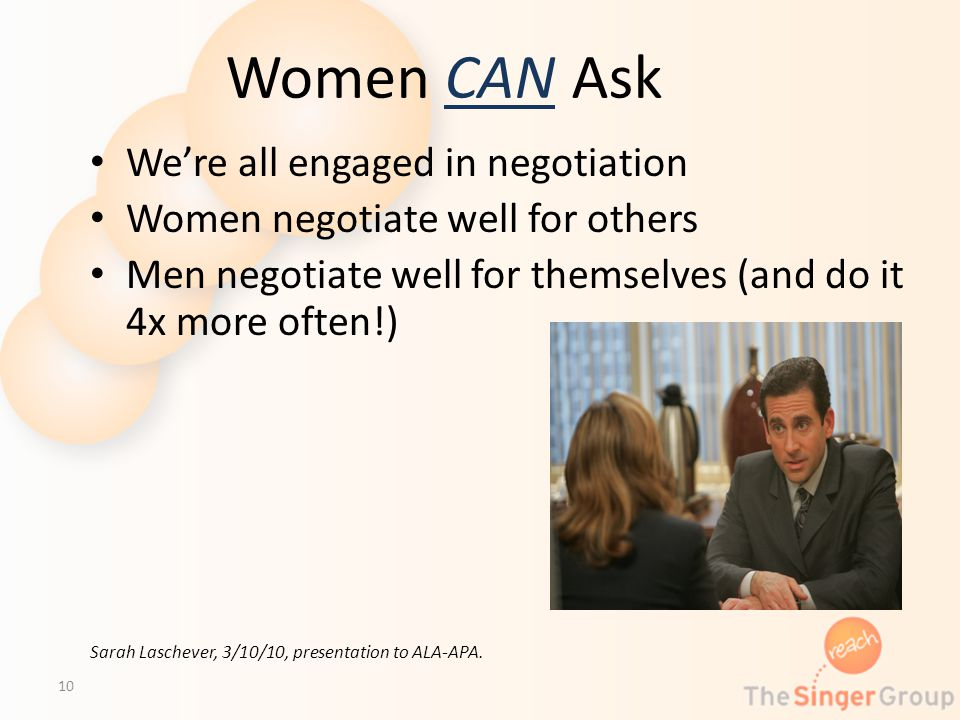 Women CAN Ask Were all engaged in negotiation Women negotiate well for others Men negotiate well for themselves (and do it 4x more often!) Sarah Lasch