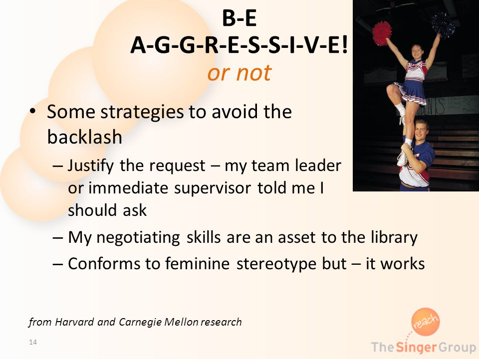 B-E A-G-G-R-E-S-S-I-V-E! or not Some strategies to avoid the backlash – Justify the request – my team leader or immediate supervisor told me I should