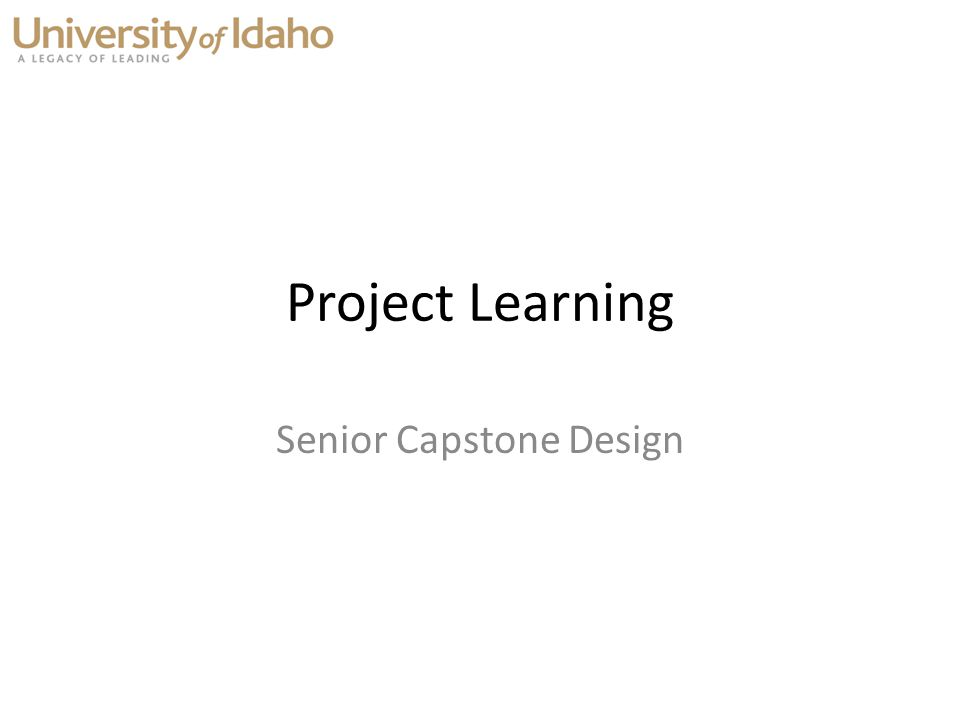 Senior Capstone Design Project Learning