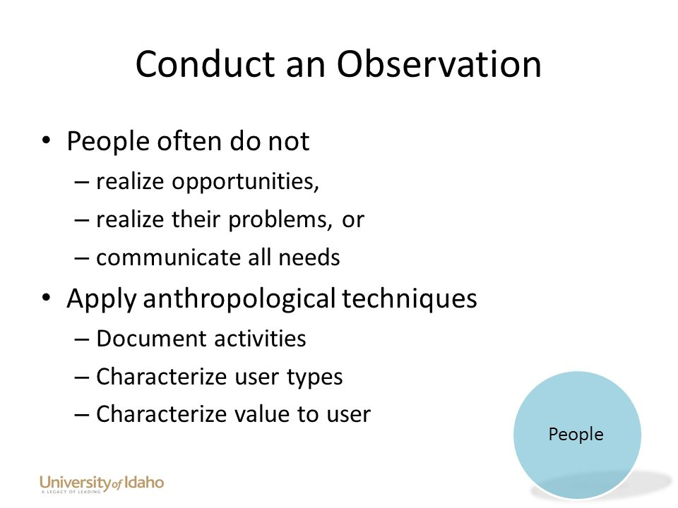 Conduct an Observation People often do not – realize opportunities, – realize their problems, or – communicate all needs Apply anthropological techniques – Document activities – Characterize user types – Characterize value to user