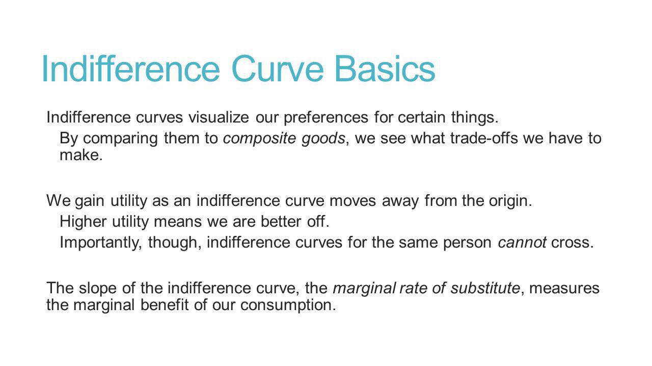 Indifference Curve Basics Indifference curves visualize our preferences for certain things.