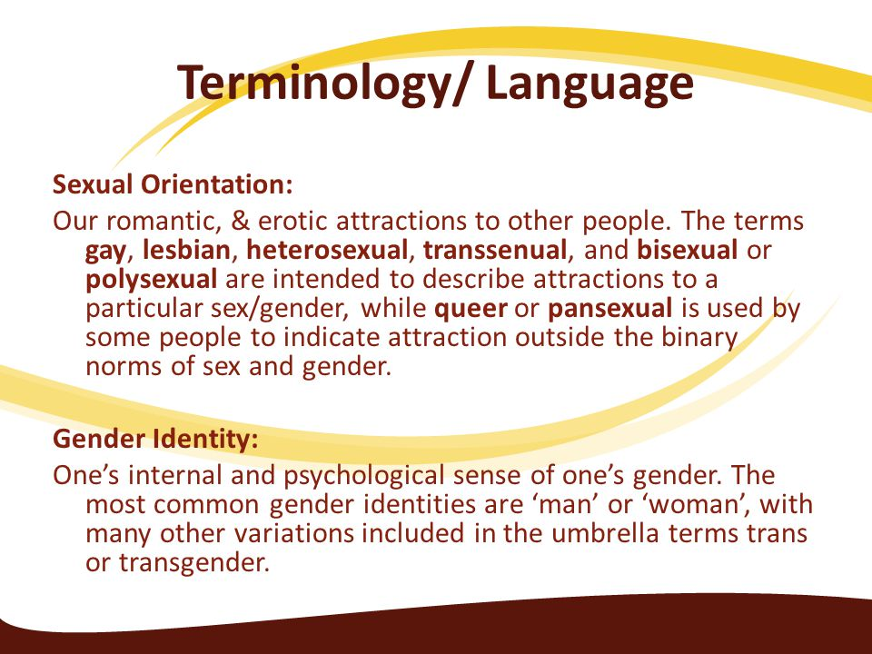Terminology/ Language Sexual Orientation: Our romantic, & erotic attractions to other people. The terms gay, lesbian, heterosexual, transsenual, and b