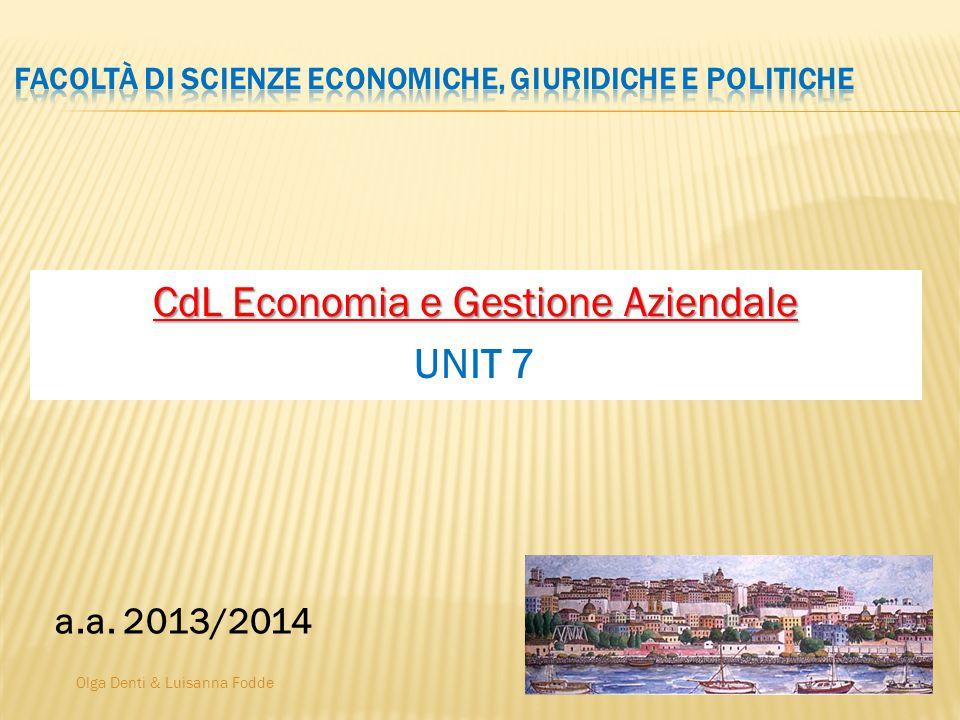 Olga Denti & Luisanna Fodde CdL Economia e Gestione Aziendale UNIT 7 a.a. 2013/2014