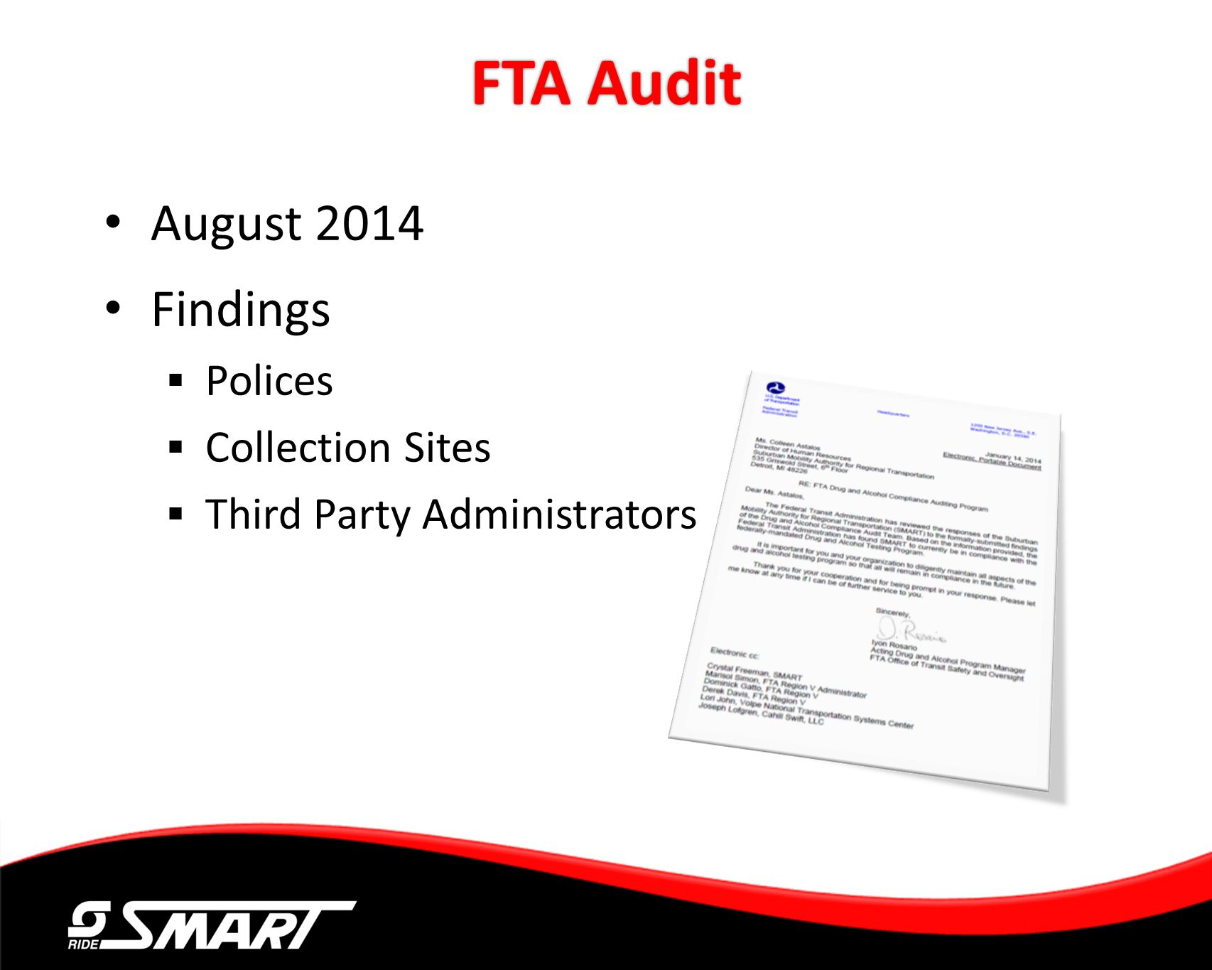 FTA Audit August 2014 Findings Polices Collection Sites Third Party Administrators