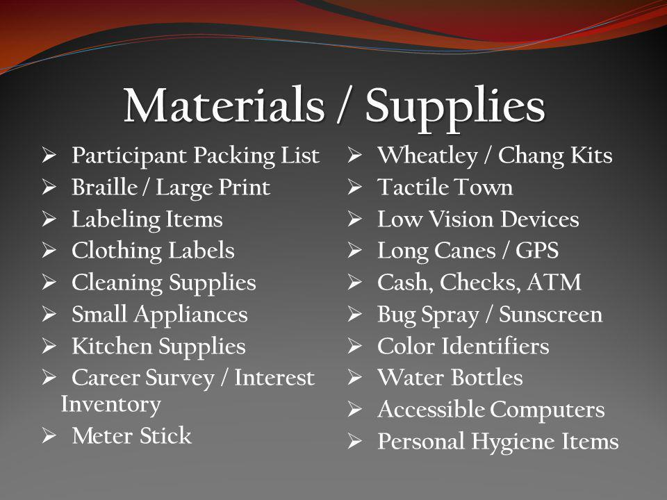 Materials / Supplies Participant Packing List Braille / Large Print Labeling Items Clothing Labels Cleaning Supplies Small Appliances Kitchen Supplies Career Survey / Interest Inventory Meter Stick Wheatley / Chang Kits Tactile Town Low Vision Devices Long Canes / GPS Cash, Checks, ATM Bug Spray / Sunscreen Color Identifiers Water Bottles Accessible Computers Personal Hygiene Items