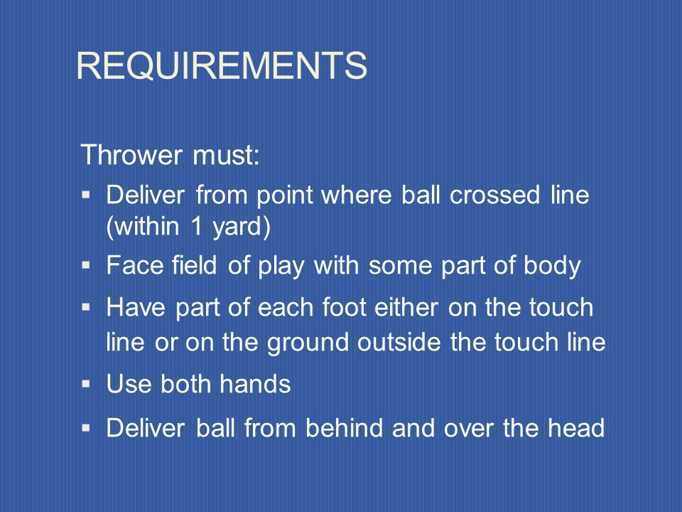 DEFINITION – THROW-IN Method of restarting play when whole ball has crossed the touch line. Throw-in awarded to opponents of the player who last touch