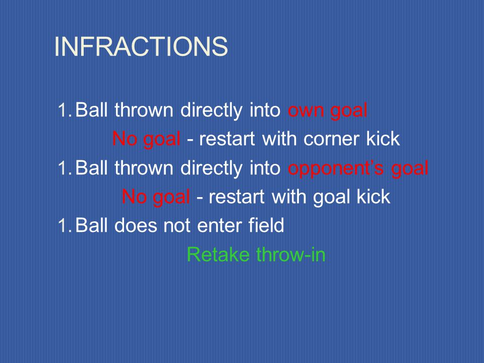 INFRACTIONS Thrower plays ball second time before ball touches another player Double touch - IFK to opponents Improperly thrown or from wrong point Th