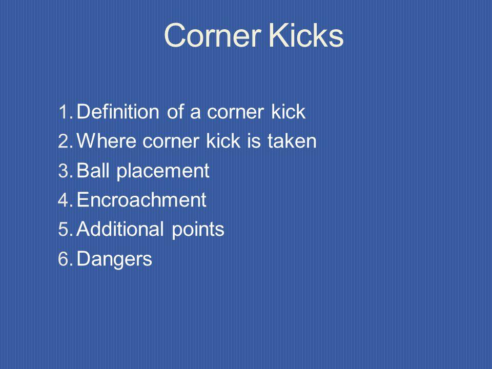 GOAL KICK ENTERING GOAL A goal kick kicked directly into: Opponents goal - award GOAL, restart with kick-off Own goal - retake goal kick