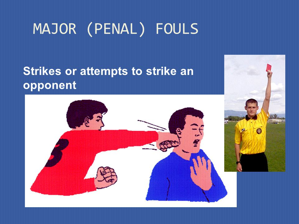 A direct free kick is awarded to the opposing team if a player commits any of the following seven offenses in a manner considered by the referee to be