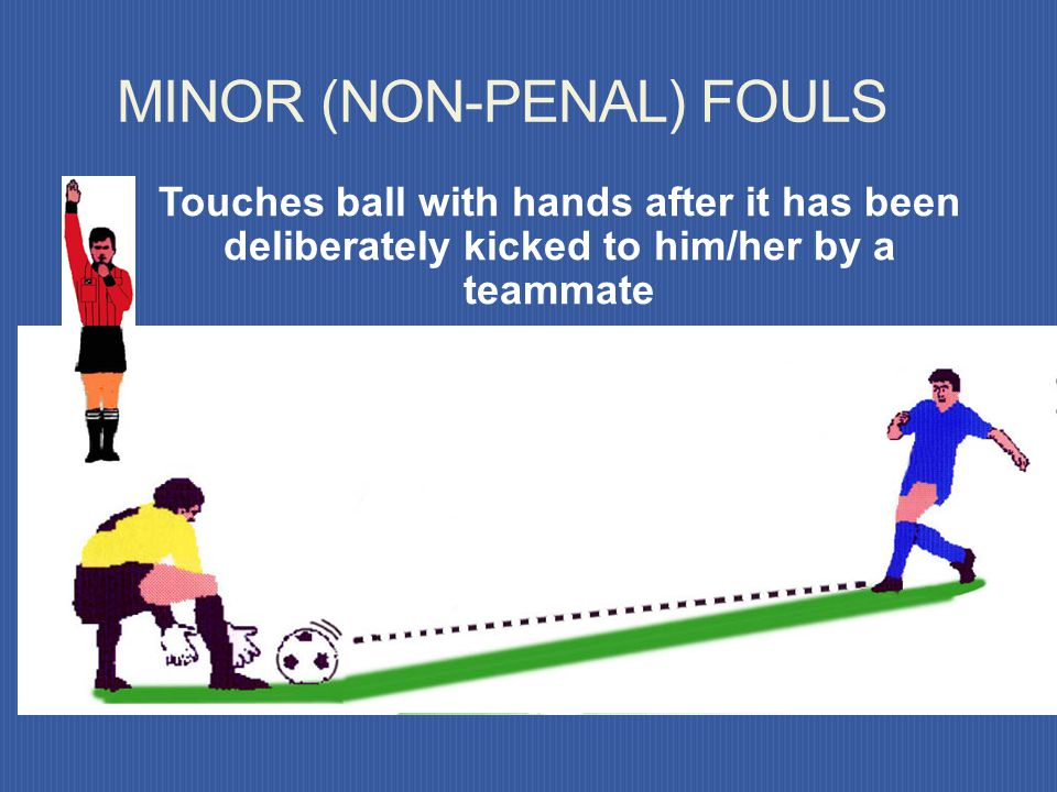 Touches the ball again with his/her hands after it has been released from his/her possession and has not touched any other player. MINOR FOULS (NON-PE