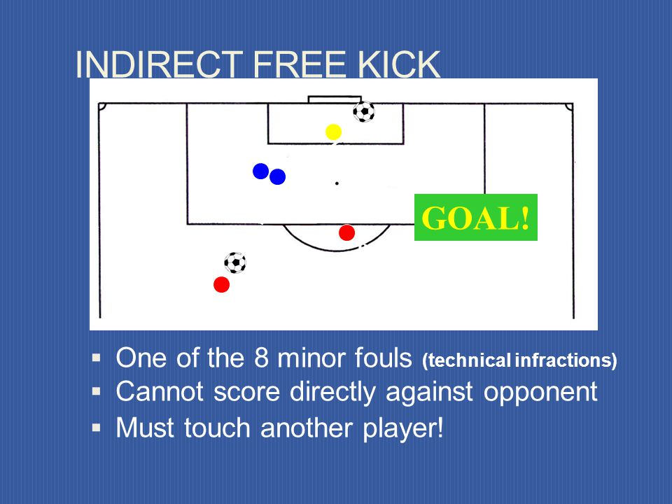 B A GOAL! DIRECT FREE KICK One of the 10 major (penal) fouls Can score directly against opponent Outside penalty area of offending team