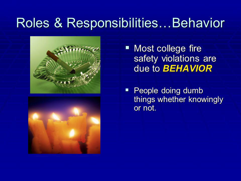 Roles & Responsibilities…Behavior Most college fire safety violations are due to BEHAVIOR Most college fire safety violations are due to BEHAVIOR People doing dumb things whether knowingly or not.