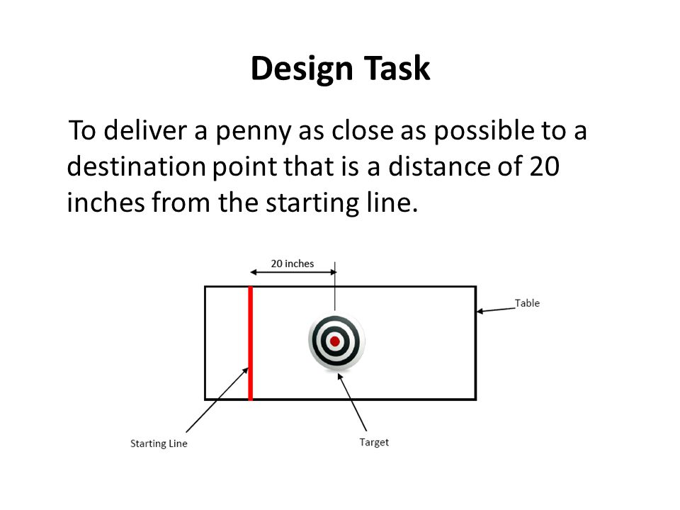 Design Task To deliver a penny as close as possible to a destination point that is a distance of 20 inches from the starting line.