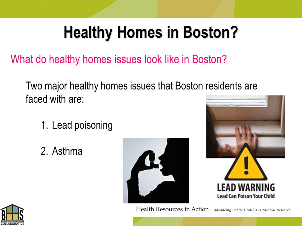 Healthy Homes in Boston? What do healthy homes issues look like in Boston? Two major healthy homes issues that Boston residents are faced with are: 1.