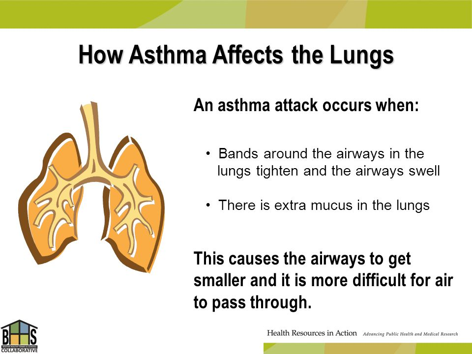 How Asthma Affects the Lungs An asthma attack occurs when: This causes the airways to get smaller and it is more difficult for air to pass through. Ba