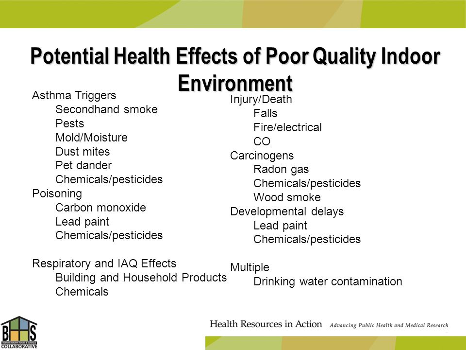 Potential Health Effects of Poor Quality Indoor Environment Asthma Triggers Secondhand smoke Pests Mold/Moisture Dust mites Pet dander Chemicals/pesti
