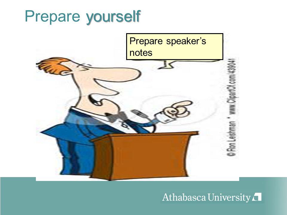 yourself Prepare yourself Prepare speakers notes