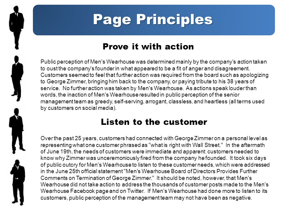 Page Principles Prove it with action Public perception of Men s Wearhouse was determined mainly by the company s action taken to oust the company s founder in what appeared to be a fit of anger and disagreement.
