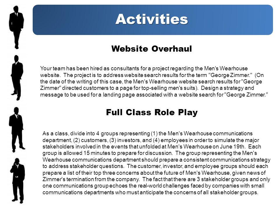 Activities Website Overhaul Your team has been hired as consultants for a project regarding the Men s Wearhouse website.