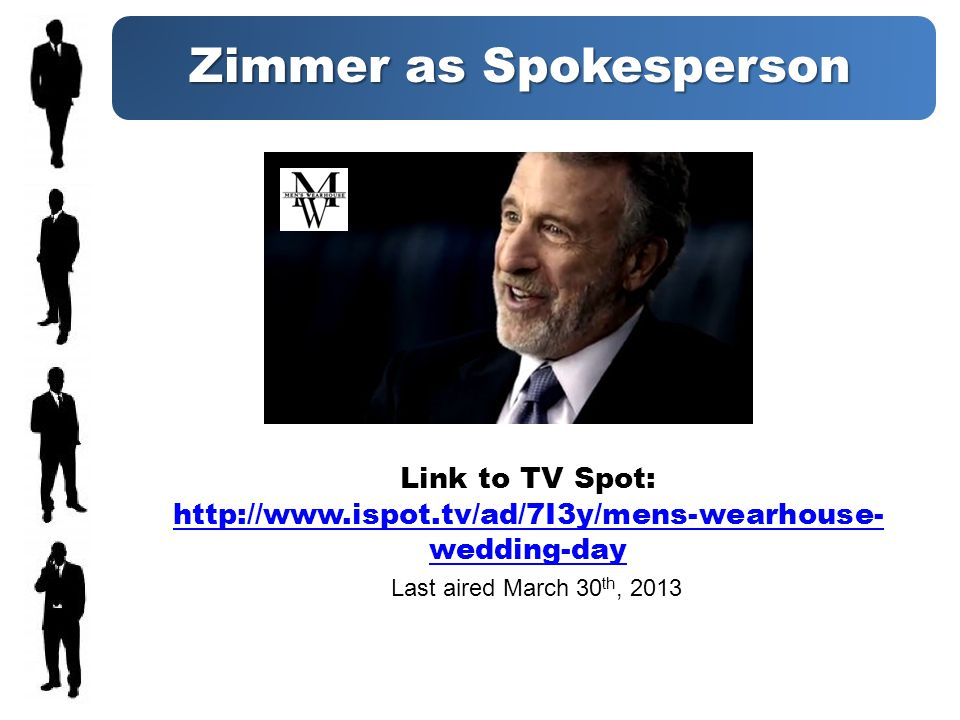 Zimmer as Spokesperson Link to TV Spot: http://www.ispot.tv/ad/7I3y/mens-wearhouse- wedding-day http://www.ispot.tv/ad/7I3y/mens-wearhouse- wedding-day Last aired March 30 th, 2013