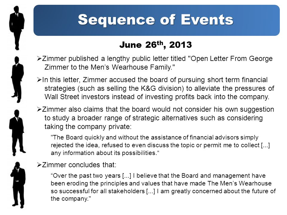 Sequence of Events June 26 th, 2013 Zimmer published a lengthy public letter titled Open Letter From George Zimmer to the Mens Wearhouse Family. In this letter, Zimmer accused the board of pursuing short term financial strategies (such as selling the K&G division) to alleviate the pressures of Wall Street investors instead of investing profits back into the company.