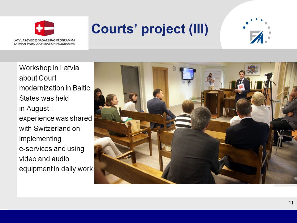 Courts project (III) Workshop in Latvia about Court modernization in Baltic States was held in August – experience was shared with Switzerland on implementing e-services and using video and audio equipment in daily work.