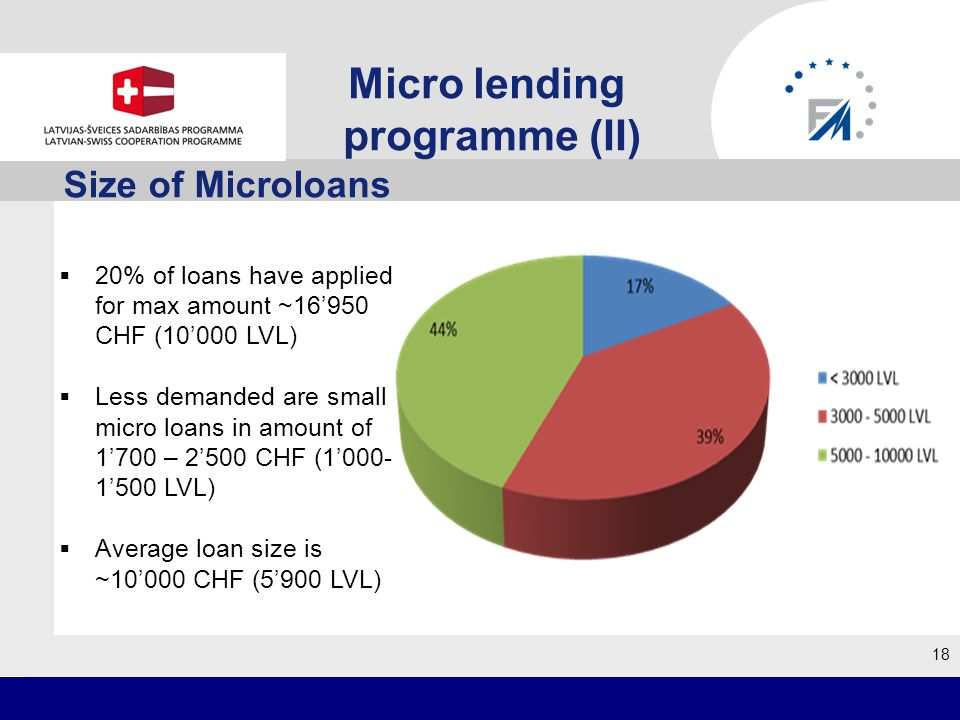 Size of Microloans 18 20% of loans have applied for max amount ~16950 CHF (10000 LVL) Less demanded are small micro loans in amount of 1700 – 2500 CHF (1000- 1500 LVL) Average loan size is ~10000 CHF (5900 LVL) Micro lending programme (II)