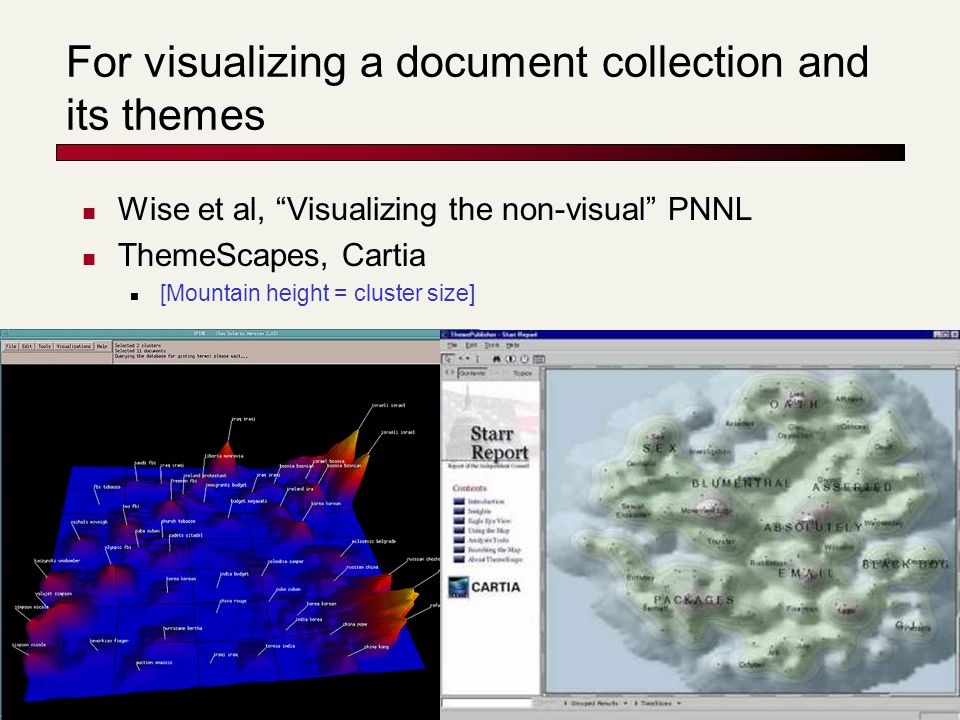 For visualizing a document collection and its themes Wise et al, Visualizing the non-visual PNNL ThemeScapes, Cartia [Mountain height = cluster size]
