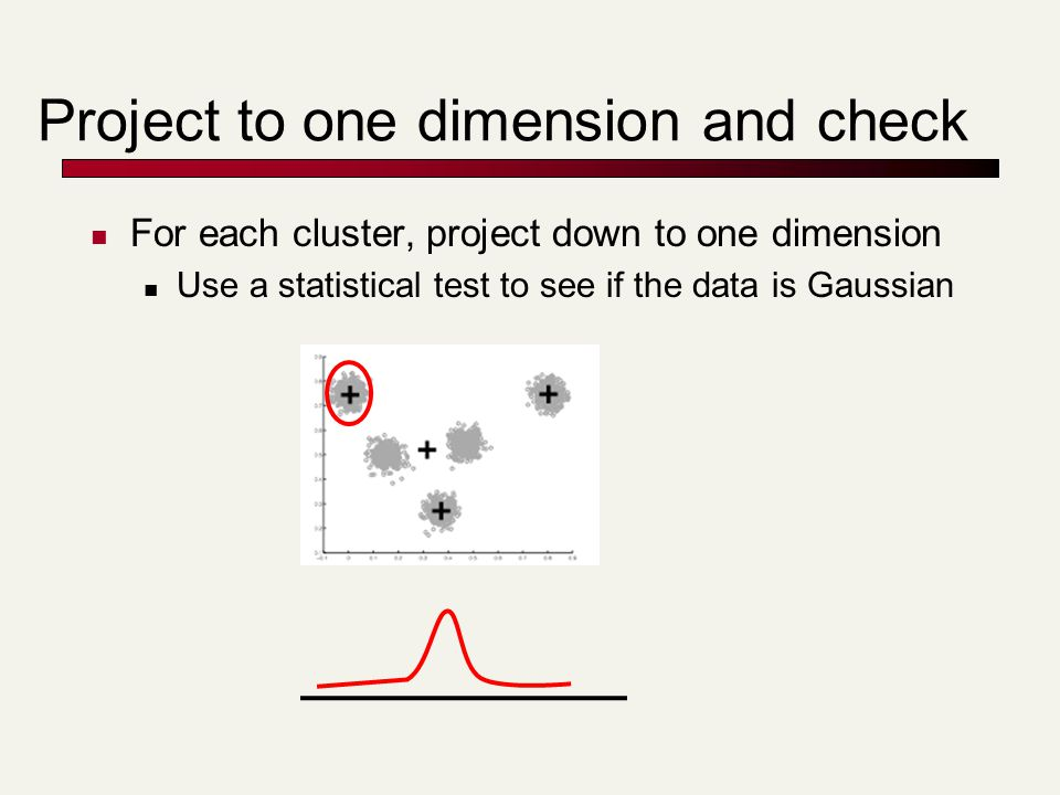 Project to one dimension and check For each cluster, project down to one dimension Use a statistical test to see if the data is Gaussian